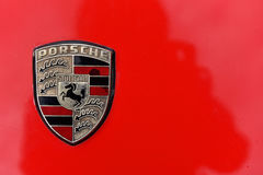 Red Porsche vintage car sign from Stuttgart Royalty Free Stock Image