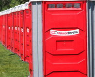 Red Porta-Potties Stock Photo