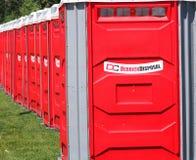 Red Porta-Potties Stock Photo