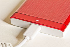 Red portable drive Stock Photos