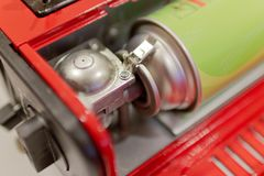 Red portable gas or gas stove. Red portable gas or gas stove for travel Royalty Free Stock Image