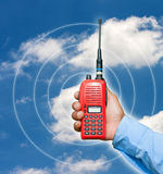 Red portable radio transceiver Stock Photo
