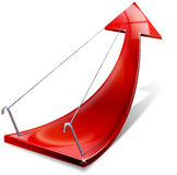 Red positive arrow. Red arrow tending upwards, the concept of economic success Stock Image
