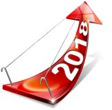 2018 Red Positive Arrow - New Year. 3D illustration of a red arrow with year 2018 tending upward. Concept of economic success. Isolated on white background Stock Image