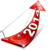2014 Red Positive Arrow. Red arrow with year 2014 tending upwards, the concept of economic success vector illustration