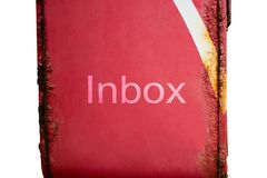 Inbox words on red post box have the rust on white background. Red post box have the rust and inbox words on white background royalty free stock images