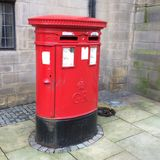 Red post box in Sheffield Stock Image
