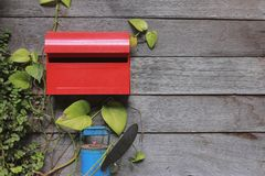Red post box. In thewall Stock Image