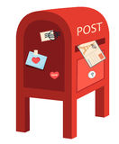 Red post box. Vector illustration Royalty Free Stock Photo