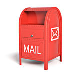 Red post box. On white background Royalty Free Stock Images