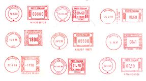 Red post stamps background Stock Photography