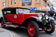 Red Post War European Motorcar. MELBOURNE / AUSTRALIA - SEPTEMBER 5 2015: Hampton Street Fathers Day Car Show - A selection of vintage and classic European cars Royalty Free Stock Images