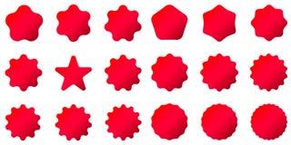 Red Postal stamps and postmarks. Collection different starburst. Set sunburst badges. Best for sale sticker, price label, quality sign. Red Postal stamps and Stock Image