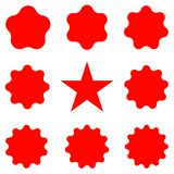 Red Postal stamps and postmarks. Collection different starburst. Set sunburst badges. Best for sale sticker, price label, quality sign. Red Postal stamps and Stock Photography