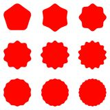 Red Postal stamps and postmarks. Collection different starburst. Set sunburst badges. Best for sale sticker, price label, quality sign. Red Postal stamps and Royalty Free Stock Images