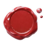Red postal wax seal with clipping path included. Red postal wax seal isolated with no shadow and clipping path included Royalty Free Stock Photography