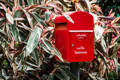 Red postbox. In the garden Royalty Free Stock Photography