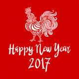 Red poster of a white rooster isolated on red background. Good for prints, covers, posters, cards, gift design. Chinese year of ro Royalty Free Stock Image