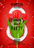 Red poster for Women`s Day party Stock Photo