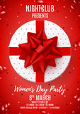 Red poster for Women`s Day party Royalty Free Stock Image