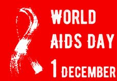 Red poster World Aids Day 1st December. Hand-drawn splash ribbon Stock Images