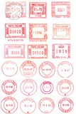 Red postmarks background. Red postage stamps , circular and rectangular Stock Photos