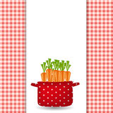 Red pot with carrots. Organic, diet, healthy food. Icon. Vector illustration Stock Image