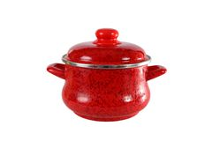 Red pot with cover. Royalty Free Stock Photography