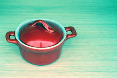 Red pot with cover Royalty Free Stock Photos