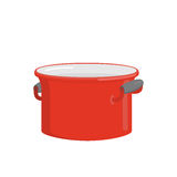 Red pot. Tableware for cooking food. Kitchenware for cooking sou Stock Photo