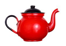 Red pot of tea. Isolated on white background Stock Photos