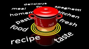 Red pot with various cooking Royalty Free Stock Photography