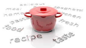 Red pot with various cooking related text Stock Photography
