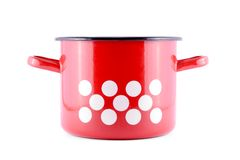 Red pot with white spots Stock Images