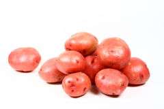 Red Potatoes. A pile of red potatoes photographed on a white background Stock Photos