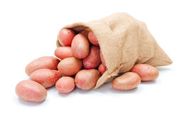 Red potatoes in sack Royalty Free Stock Images