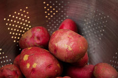 Red Potatoes in stainless steel strainer Stock Photos