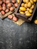 Red potatoes on tray and yellow potatoes in box stock images