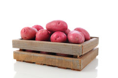 Red Potatoes in a Wood Crate Royalty Free Stock Photo