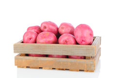 Red Potatoes in Wood Crate Royalty Free Stock Image