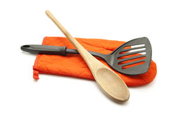 Red potholder Glove with Spatula and Cooking Spoon Royalty Free Stock Photo