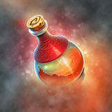 Red Potion. Painting of a magic potion bottle. Ideal for use as a UI icon or game symbol for apps Stock Images