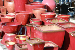 Red Pots Stock Images