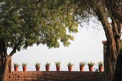 Red Pots on Parapet Stock Photos