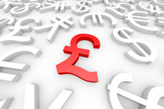 Red pound sign around another currency signs. Stock Images