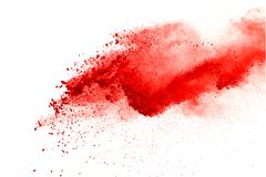 Red powder explosion on white background. Paint Holi. royalty free stock photos