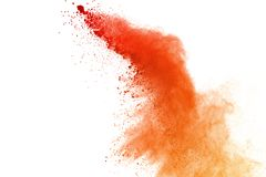 Red powder explosion on white background. Paint Holi. royalty free stock image