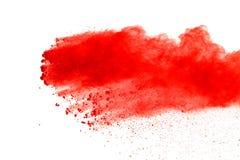 Red powder explosion on white background. Paint Holi. royalty free stock photos
