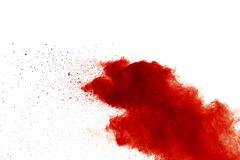 Red powder explosion on white background. Paint Holi royalty free stock photos