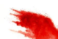 Red powder explosion on white background. Paint Holi royalty free stock photo